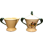 Vintage Metlox Vernon Poppytrail California Provincial Pattern Creamer & Sugar Bowl with Lid .