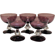 Vintage (5) Bryce 4 Inch Tall Sherbets 1950-65 Aquarius-Amethyst Bowl & Foot Pattern #961 Very