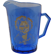 SOLD Vintage Shirley Temple Cobalt Blue Creamer by Hazel Atlas 1930s Very Good Condition