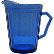 SOLD Vintage Hazel Atlas (2)  Cobalt Blue Creamers Aurora Pattern 1937-38 Very Good Condition