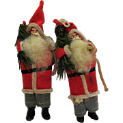 SALE Two Older Santa Christmas tree Ornaments Plastic heads and Boots 1950s Good Condition