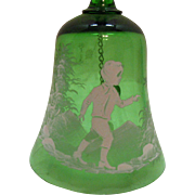 Vintage Mary Gregory Green Glass Bell Bohemian Czechoslovakia Young Boy Motif Very Good ...