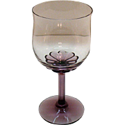 SOLD Vintage (14) Fostoria Wine Glasses Amethyst Base & Stem Corsage Plum Pattern 1970s Very G