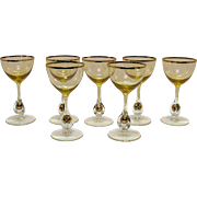 Vintage Set of 7 Atlas Liquor Cocktail Glasses Golden Ball in Stem Pattern Topaz/Yellow ...
