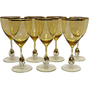 Vintage Set of 7 Atlas Water Goblets Golden Ball in Stem Pattern Topaz/Yellow Bowl ...