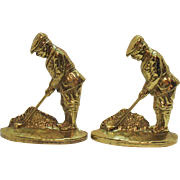 SALE Vintage Brass Golfer Bookends/Door Stops Signed V in Circle Heavy Very Good Condition