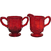 Vintage L. G. Wright Ruby Paneled Grape Individual Sugar & Creamer 1970s Very Good Condition