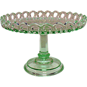 Vintage Depression Transparent Green Pedestal Cake Plate with Upturned Lacey Edge Good ...