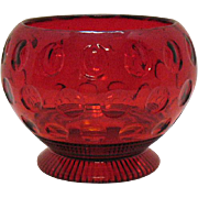 SALE Vintage Imperial Depression glass Ruby Candy Bowl with Thumbprint Motif 1939 Very Good ..