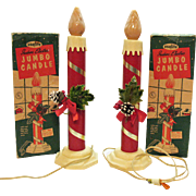 Vintage Christmas Large Indoor Jumbo Electric Candles 1950s Work Very Good Condition