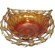 Vintage Fenton Bon Bon Dish Basket weave Pattern Open Lacey Edge Marigold Colored 1921-37 ...