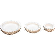 Vintage Fenton 3 Ashtray Set Hobnail Milk glass Pattern Very Good Condition