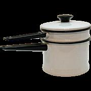 Vintage White Enamel/Granite Ware Double Boiler 1950s Black Paint Very Good Condition
