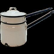 Vintage White Enamel/Granite Ware Double Boiler Cobalt Blue Handles & Rims 1930-40 Used Condit
