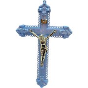 Vintage Plastic Blue Crucifix 1950s Very Good Condition