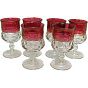 Six Vintage Ruby Single Flashed Water Goblets Tiffin Kings Crown Pattern 1950-62 Very Good Con