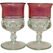 Two Cranberry Single Flashed Water Goblets by Tiffin Kings Crown Pattern 1950-65 Very Good Con