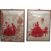 Vintage Large Copper Framed Silhouettes By Benton Glass Co.1940-53 Red Ink Excellent Condition