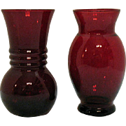 Vintage Two Anchor Hocking Royal Ruby Vases 1938-60s Very Good Condition
