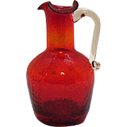 SOLD Vintage Pilgrim Ruby Crackle Pitcher 1950-60s Very Good Condition
