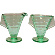 Vintage Transparent Green Depression glass Sugar & Creamer Set Tab Handles 1930s Very Good Con