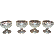 Vintage 4 Crystal Champagne/High Sherbet Sandwich Pattern by Indiana Glass Co. 1925-85 Very Go