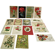 Sixteen Vintage Post Cards about Christmas Birthdays Friendship Post Marked 1914-15 Good ...