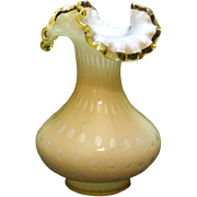 Vintage Fenton overlay bubble optic vase with gold crest edge from 1961-64 still in ...