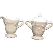 Vintage Fenton Rose milk glass sugar with lid and creamer set from 1967-74 still ...