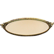 Vintage large vanity tray/mirror with bird handles, filigree metal work, and floral design fro