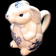 Vintage Ceramic Delft Rabbit Figurine Creamer 1960s Very Good Condition