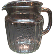 Vintage Hocking Depression glass Crystal Pitcher Mayfair Open Rose Pattern 1931-37 Very Good .