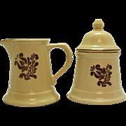Vintage Pfaltzgraff Sugar & Creamer Set 1970s Village Pattern Very Good Condition