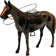 Vintage Metal Horse with Copper Wash 1950-60s Very Good Condition