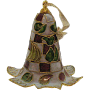Vintage Champlevé Cloisonné Christmas Ornament Metal Bell 1970s Very Good Condition