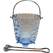 Vintage Hard to Find Cambridge Caprice Ice Bucket with Tongs Moonlight Blue 1940-57 Very Good