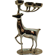 Vintage Silver Plated Over Brass India Reindeer Candle Holder 1950-60s Modernistic Look Very .