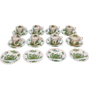 Vintage 20 Pieces Spode Copeland Demitasse Cups & Saucers Green Basket Pattern Very Good ...