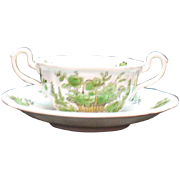 Vintage Spode Copeland 12 Bouillon Cup & Saucer Sets Bone China Green basket Pattern #8135 Ver