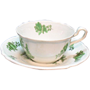 Vintage Spode Copeland Cup & Saucer Set Plus 5 Cups Bone China Green Basket Pattern #8135 Very