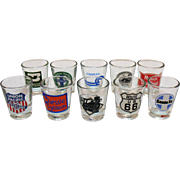 SOLD Vintage Souvenir Collection Railroad Shot Glasses 1970-80s Very Good Condition