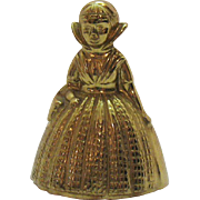 Vintage Brass Bell Figurine English Lady Very Good Condition