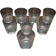 Vintage Cambridge Glass (8) Low Ball Bar Glasses with Lotus Glass Co Etching of Bridal ...