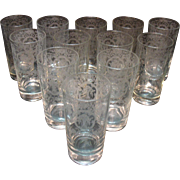 Vintage Cambridge (12) High Ball Bar Glasses with Lotus Glass Co Etching Bridal Bouquet 1940 .