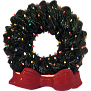 Vintage Ceramic Christmas Wreath with Faux Plastic Lights Lit up Base 1970s Very Good Conditio