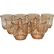 Vintage Arc International Arcoroc France Pink Swirl 9 Tumblers 1960-70s Very Good Condition