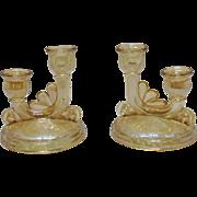 Vintage Jeannette Louisa Iridescent Floragold glass Pattern 1950s 2 Lite Candle Holder Good ..