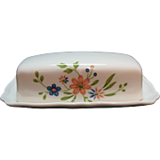 Vintage Federalist Ironstone ¼ Pound Butter Dish Floral Motif 1960-70s Very Good Condition