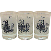 Three Vintage Currier & Ives 4 Ounce Juice Glass Tumblers Paddle Boat Motif 1960s Very Good ..