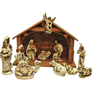 Vintage Nativity Set Made in Japan 1950s Papier Mache Figurines Manger with Music Box & light
